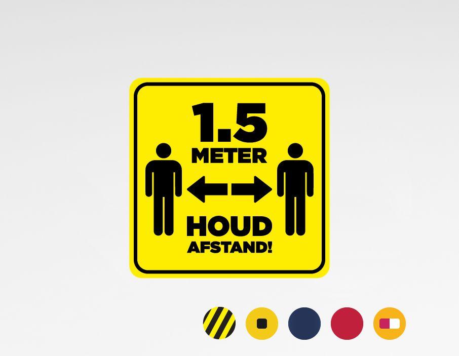 Houd 1.5 meter afstand sticker 40x40cm