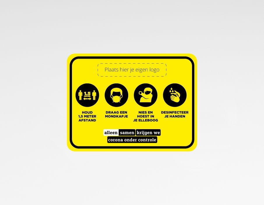 Maatregelen sticker + eigen logo 40x30cm